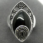 Pretty 925 Sterling Silver Black Agate With Marcasite Women Men's Ring Size 7-10