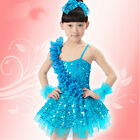 Fashion New Girls Blue Sequined Latin Dance wear Kid Dancing Dress Costume