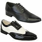Mens Italian Shoes Brogue Formal Two Tone Lace Up Patent Casual Pointed Wedding