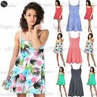Women Ladies Strappy 50's Vintage Rockabilly Polka Dots Sleeveless Swing Dress