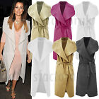 NEW Womens TOWIE Jess Wright Sleeveless Oversized WATERFALL Belted COAT Jacket 8
