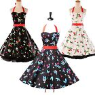 FAST London Vintage 3 Color Cherry Print Rockabilly Pinup Party Swing Prom Dress