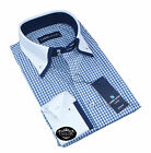 Brand New Mens Formal Casual Blue White Navy Check Double Collar Slim Fit Shirt