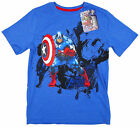 Boy's Marvel Avengers Assembled Captain America Blue T-Shirt Top 4-12 Years NEW
