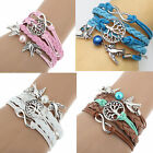 Chic New Steampunk Silver Tree Birds Infinity Charms Leather Wrap Bracelet Gift