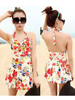 Women Ladies Flower Print One Piece Swimsuit Beach Bathing Suit Swimming Costume