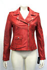 Katie Red Ladies Womens Short Soft Nappa Lambskin Washed Waxed Leather Jacket
