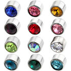 Pair 12 Month Birthstone 6mm Bezel Crystal Ear Stud Earrings Men Women Jewelry