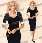 Plus size S to 5XL Women Short Sleeve Spring Summer Bodycon Penil Work Dress B47