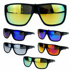 Kush Mens Matte Plastic Rectangular Plastic Color Mirror Biker Sport Sunglasses