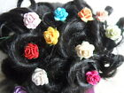 6 ROSE HAIR PINS GRIPS FLOWER WEDDING BRIDESMAID ACCESSORIES 20mm IN SIZE