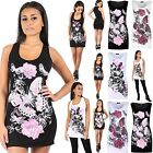 Womens Ladies Racer Back Glitter Butterfly Print Sleeveless Mini Vest Top Dress