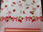 Strawberry spot border print 100% cotton Fabric material retro / vintage