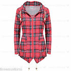 Ladies Mac Waterproof Red Tartan Detachable Hoodie Elasticated Waist Rain Coat