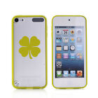 For Apple iPod Touch 6th 5th Transparent Clear Hard TPU Case Cover 4 Leaf Clover