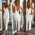 Stylish Women's Cocktail Gown Party Sleeveless Deep V-neck Sexy Splitting Dress