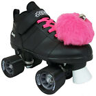 Black or White Chicago Bullet Quad Speed Skates w/ Pink Laces & Pink Pom Poms