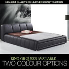 Black White King Queen Size PU BiCast Leather Deluxe Bed Frame Bedroom Furniture