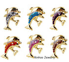Fashion Women Animal Crystal Double Dolphin Brooch Pins Wedding Gift Jewelry