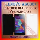 LEATHER DIARY FOLIO FLIP CASE COVER for LENOVO A6000+ PLUS MOBILE FRONT & BACK
