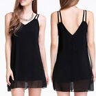 Hot Summer Womens Sexy Sleeveless Black Casual Evening Party Strap Mini Dress