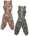 Girl's Mosaic Print Zip Front Sleeveless Fashion Jumpsuit 3 to 12 Years NEW