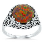 ORANGE LAB FIRE OPAL ANTIQUE FILIGREE STYLE .925 STERLING SILVER RING,      #173