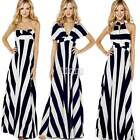 Summer New BOHO SEXY Evening/Cocktail/Party Women Ladies Striped Long Maxi Dress