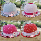 Cute infant girls flower bold dot hearts cotton summer hats bernat 3-24month
