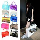 New Woman Jelly Clear Bucket Girl Shoulder Bag PVC 2in1 Handbag Cosmetic Bag E32