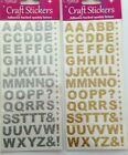 Alphabet Capital Letters Self Adhesive Stickers 1.5cm Glitter Gold or Silver