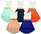 Girl's Lace Bodice Chiffon Skirt Hi lo Dress & Faux Pearl Necklace 3 to 12 Years