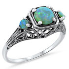 GREEN LAB OPAL ANTIQUE ART DECO STYLE .925 STERLING SILVER RING,            #411
