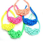 new Fashion In Chunky Twist Pendants Neon Cord Weave Statement Choker Necklace