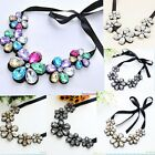 New Arrive Crystal Black Ribbon Chain Bib Collar Necklace Jewelry A1306
