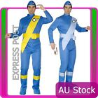 Mens Virgil Or Scott Blue Thunderbirds Cartoon Costume Jumpsuit Fancy Dress