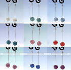 Pair Colorful Disco Resin Crystal  Ball Long Chain Hook Earring Stud Eardrop New