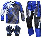 BLUE YOUTH KIDS MX JERSEY PANTS GLOVES Dirt Bike Gear Off road Motocross Junior