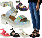 Ladies Womens Gladiator Chunky Cleated Sole Sandals Flatform Platform Shoes Size