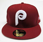 Philadelphia Phillies Vintage Burgundy All Sizes Fitted Cap Hat by New Era