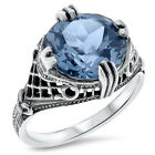 4 CT. SIM AQUAMARINE ANTIQUE ART DECO STYLE .925 STERLING SILVER RING, #526