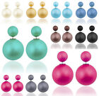 Women Solid Pearl Double Sided Two Ball Earrings Ear Studs Screw Back Pierced