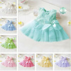 Baby Kids Girl Toddler Princess Pageant Party Tutu Lace Bow Flower Dresses 0-36M