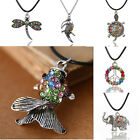 Hot Retro Fashion Crystal Rhinestone Animal Pendant Leather Necklace Jewelry Hot