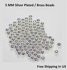 Silver Plated / Brass 5 MM Round Hollow Seamless  Beads / Quality Plating