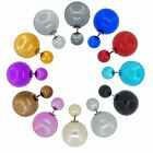 Wholesale Lot of Double Side Electroplated Ball Stud Jewelry Earrings, 12 Colors