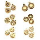 Antique Vintage Gold Craved Patterns Alloy Round Tag Jewelry Charms Pendants J