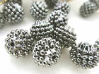 15mm OPAQUE METALLIC SILVER GRAY ACRYLIC PLASTIC BERRY LOOSE BEADS HP01847
