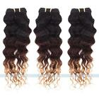 4 bundles Brazilian Virgin Ombre Curly Wave Human Hair Weaves Mixed Lenght
