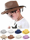Kid Boys Girls Children Beach Cap Straw Trilby Topper Summer Sun Cowboy Hat